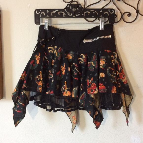 Hot Topic Dresses & Skirts - LIVING DEAD SOULS Tattoo Art Mini Gothic Skirt